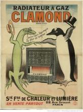 Radiateur à gaz Clamond. Société française de chaleur et lumière, 22, rue Drouot, Paris. : [lézard / pingouin] : [affiche] / Georges Meunier